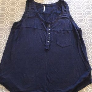 free people navy a-line linen tank